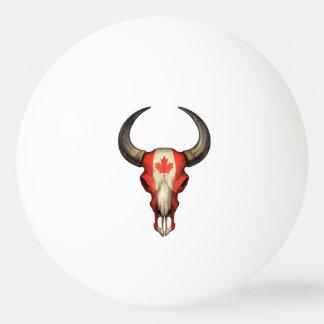 Cráneo canadiense de Bull de la bandera Pelota De Tenis De Mesa