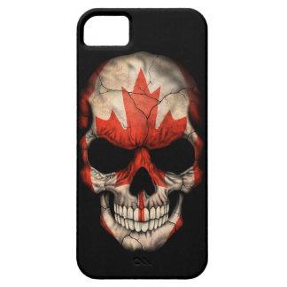 Cráneo canadiense de la bandera en negro iPhone 5 protectores