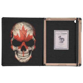 Cráneo canadiense de la bandera en negro iPad carcasa