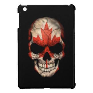 Cráneo canadiense de la bandera en negro