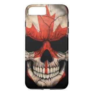 Cráneo canadiense de la bandera en negro funda iPhone 7 plus
