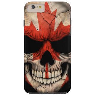 Cráneo canadiense de la bandera en negro funda resistente iPhone 6 plus