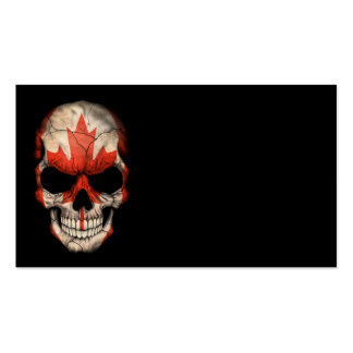 Cráneo canadiense de la bandera en negro plantillas de tarjeta de negocio