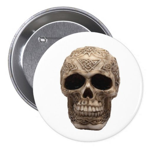 Cráneo céltico pin redondo 7 cm