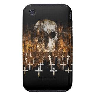 Cráneo, cementerio, Grunge, gótico, ilustraciones  Tough iPhone 3 Cobertura