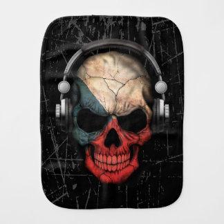 Cráneo checo rasguñado de DJ con los auriculares Paños De Bebé