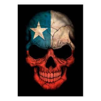 Cráneo chileno de la bandera en negro tarjetas de visita grandes