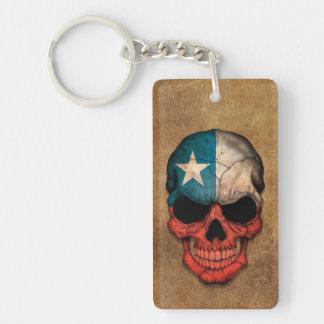 Cráneo chileno envejecido y llevado de la bandera llavero rectangular acrílico a doble cara