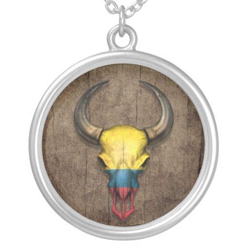 Cráneo colombiano de Bull de la bandera en el efec Pendientes Personalizados