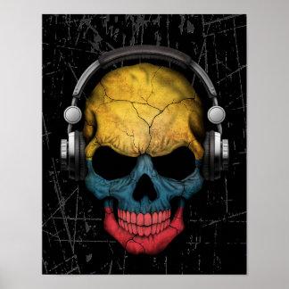 Cráneo colombiano rasguñado de DJ con los Póster