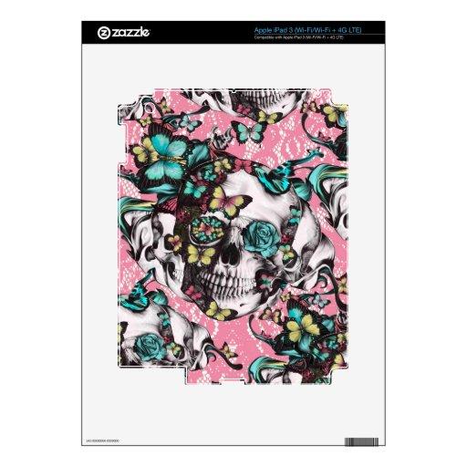 Cráneo color de rosa floral con las mariposas iPad 3 skin