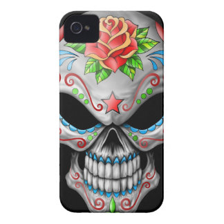 Cráneo color de rosa malvado del azúcar iPhone 4 fundas
