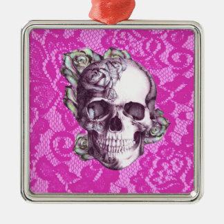 Cráneo color de rosa retro en cordón magenta adorno