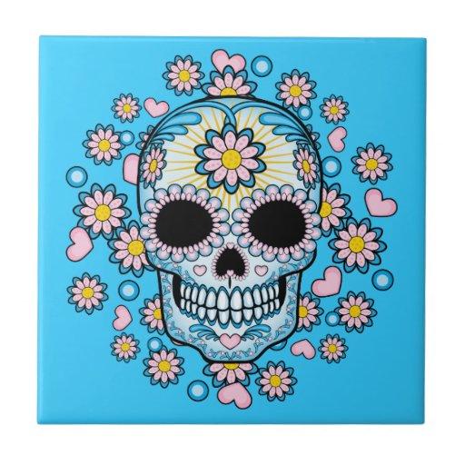Cráneo colorido del azúcar azulejo cuadrado pequeño