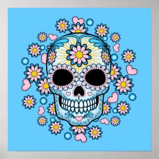 Cráneo colorido del azúcar póster