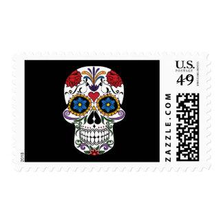 Cráneo colorido del azúcar timbres postales