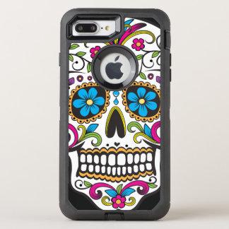 Cráneo colorido del caramelo funda OtterBox defender para iPhone 7 plus