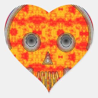 Cráneo colorido del robot en fondo del arco iris pegatina en forma de corazón