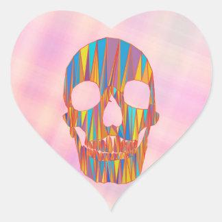 Cráneo colorido pegatina en forma de corazón