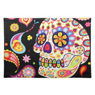 Cráneo colorido Placemat del azúcar Mantel