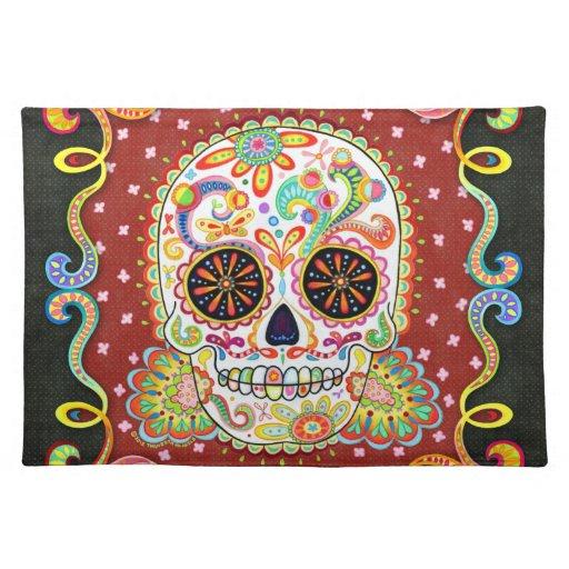 Cráneo colorido Placemat del azúcar Manteles Individuales