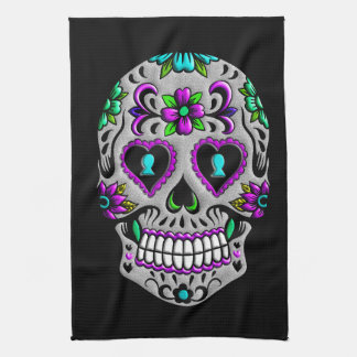 Cráneo colorido retro del azúcar toalla