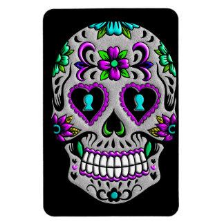 Cráneo colorido retro del azúcar rectangle magnet