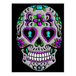 Cráneo colorido retro del azúcar postal