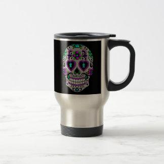 Cráneo colorido retro del azúcar tazas de café