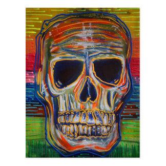 Cráneo colorido postal