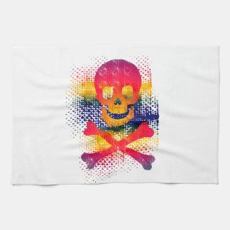 cráneo colorido y bandera pirata toallas de cocina