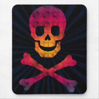 cráneo colorido y bandera pirata tapete de raton