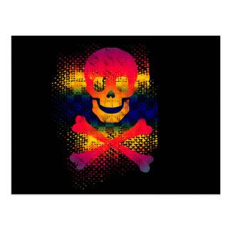 cráneo colorido y bandera pirata tarjetas postales