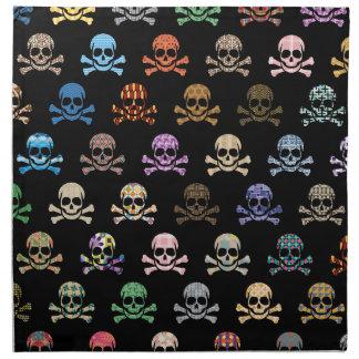 Cráneo colorido y huesos cruzados servilleta de papel