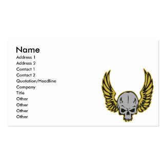 cráneo con alas amarillo tarjetas de visita