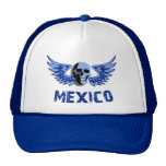 Cráneo con alas azul de México Gorras De Camionero