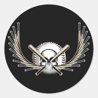 Cráneo con alas del béisbol pegatina redonda