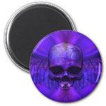 Cráneo con alas explosión azul de la púrpura iman de frigorífico