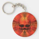 Cráneo con alas explosión del naranja rojizo llavero personalizado