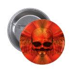 Cráneo con alas explosión del naranja rojizo pin