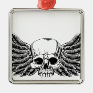Cráneo con alas grabar en madera del vintage adorno navideño cuadrado de metal