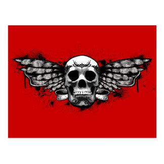 Cráneo con alas negro tarjetas postales