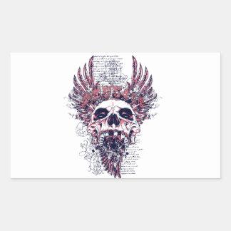 Cráneo con alas pegatina rectangular