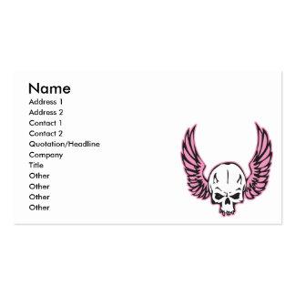 cráneo con alas rosa tarjetas de visita