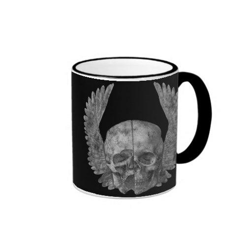 Cráneo con alas taza de café