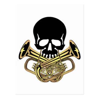 Cráneo con bandera pirata de la tuba tarjeta postal