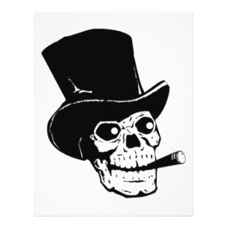 """Cráneo con diseño del sombrero de copa y del cigar folleto 8.5"""" x 11"""""""