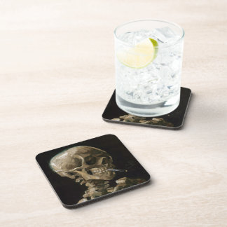 Cráneo con el arte ardiente de Vincent van Gogh Posavasos De Bebida