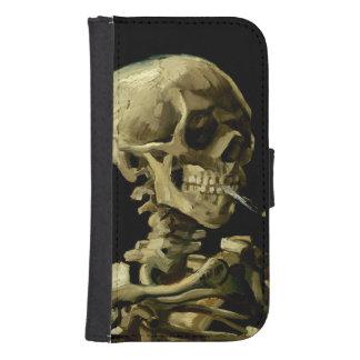 Cráneo con el cigarrillo ardiente de Van Gogh Billetera Para Teléfono