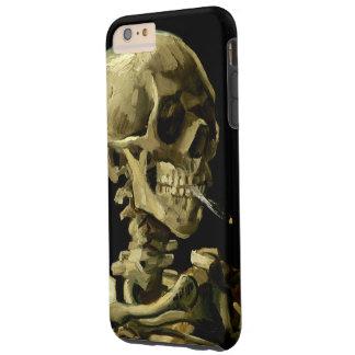 Cráneo con el cigarrillo ardiente de Van Gogh Funda Para iPhone 6 Plus Tough